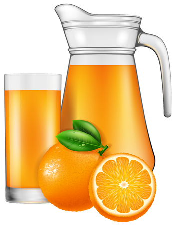 cold cuts: A jug of orange juice. Vector illustration.