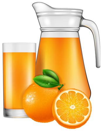 fiambres: Una jarra de zumo de naranja. Ilustración del vector.