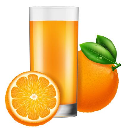 cold cuts: A glass of orange juice, Vector illustration. Illustration