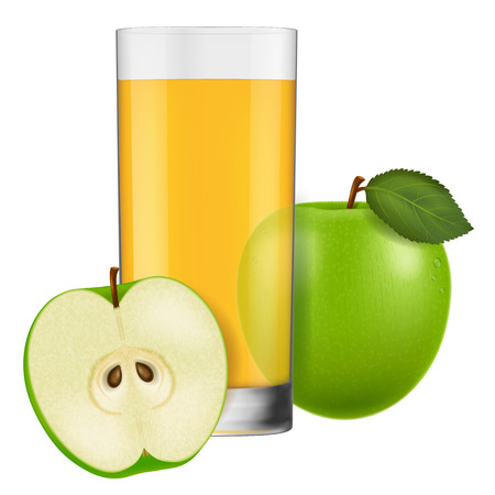 A glass of apple juice. Vector illustration.