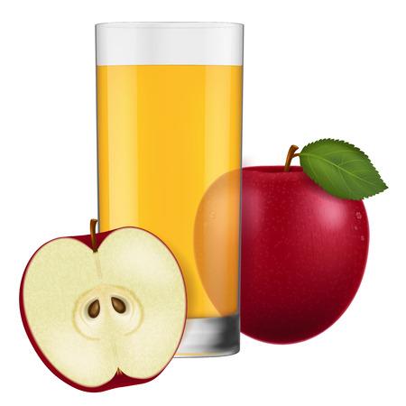apple juice: A glass of apple juice. Vector illustration.
