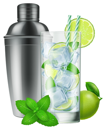 A glass of Mojito and a silver shaker. Photo-realistic vector Illustration.