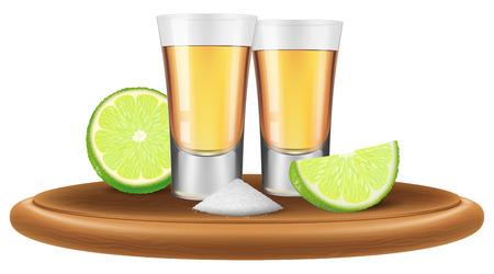 Tequila con calce e sale. Illustrazione vettoriale.