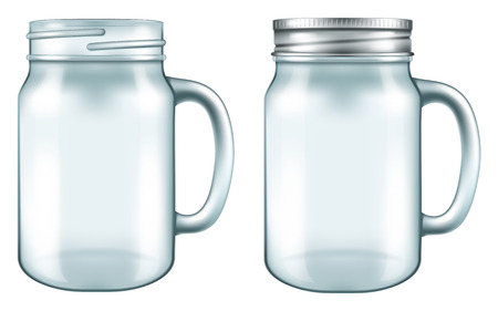 Kubek Mason Jar w dwóch wersjach - z lub bez pokrywy. ilustracji wektorowych.