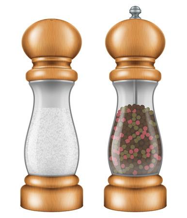 molinillo: establece la sal y la pimienta de molino. Ilustración del vector.
