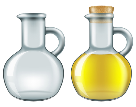 empty jar: Jar of olive oil - empty and closed full versions. Vector illustration. Illustration