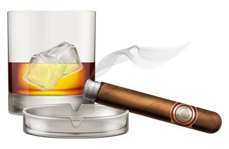 Vetro di whisky con sigaro e portacenere. Illustrazione vettoriale.