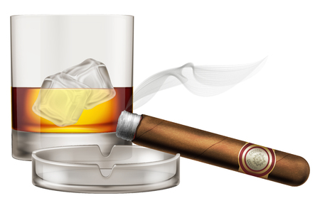 Whiskey glass with cigar and ashtray. Vector illustration. Stock Illustratie