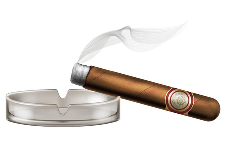 Burning cigar with an ashtray and smoke, realistic vector illustration.