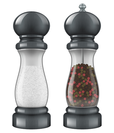 Salt and pepper mill set. Vector illustration. Illustration