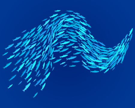 School of fish, vector illustration.