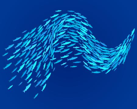 water flows: School of fish, vector illustration.