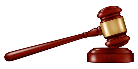 Wooden Judges gavel with a stand, vector illustration.
