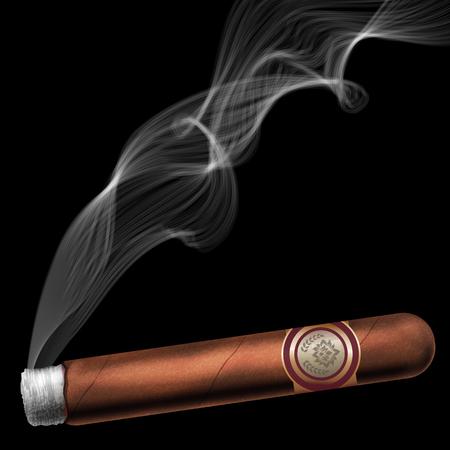 Masterizzazione sigaro con cenere e fumo, illustrazione vettoriale realistico.