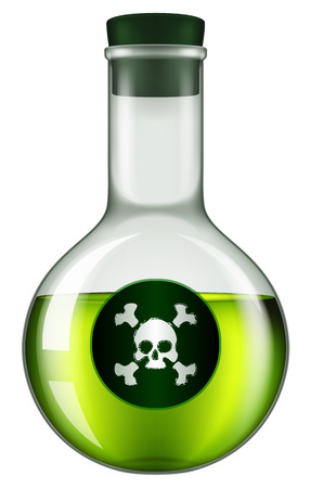 veneno frasco: Poison bottle with a skull and crossbones label. Vectores
