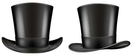 three quarter: Black top hat. Frontal and three quarter views. Vector illustration.
