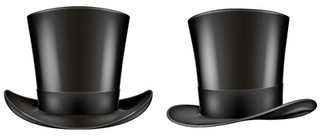 Black top hat. Frontal and three quarter views. Vector illustration.