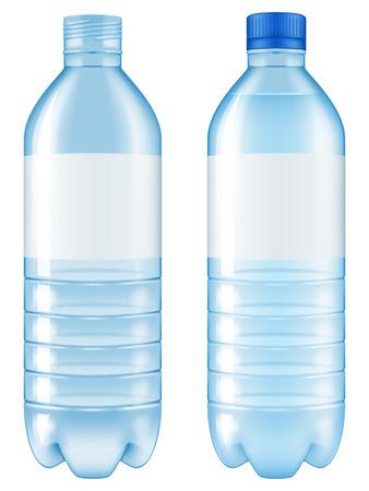 水のボトル。オープンとクローズのバージョンが含まれています。ベクトルの図。