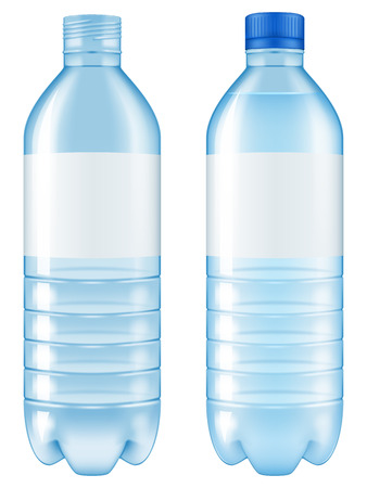 plastic bottle: Bottle of water. Open and closed versions included.Vector illustration.