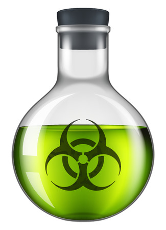 caution chemistry: Green laboratory flask containing some viruses or bacterias with a biohazard mark on it. Vector illustration, isolated on white.