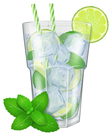 rum: A glass of Mojito with mint leaves. Vector illustration.