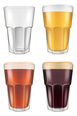 stout: Beer glass in four color schemes for empty glass, lager beer, amber ale and stout. Photo-realistic vector illustration. Illustration