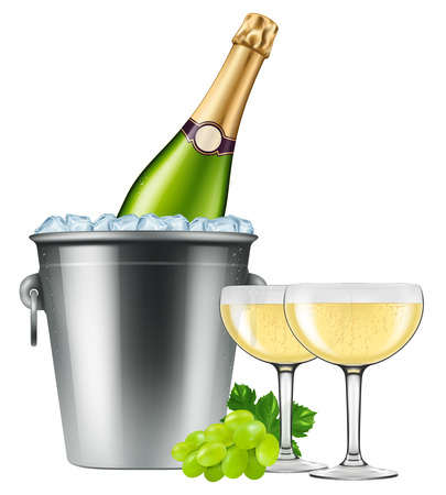 Champagne bottle in an ice bucket with two coupes and grapes. Vector illustration.