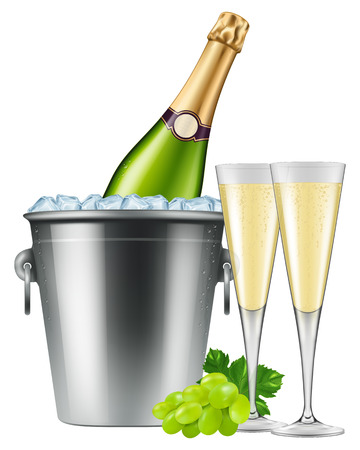 Champagne bottle in an ice bucket with two flutes and grapes. Vector illustration.