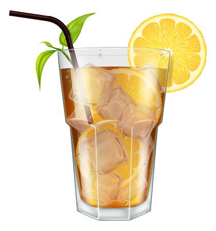ice tea: Glass of ice tea with lemon, ice cubes and tea leaves. Vector illustration.