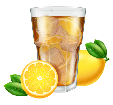 ice tea: Glass of ice tea with lemon. Vector illustration.