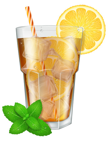 ice tea: Glass of ice tea with lemon, ice cubes and mint. Vector illustration.