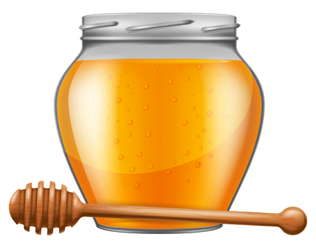 drizzler: Jar of honey with wooden drizzler. Vector illustration.