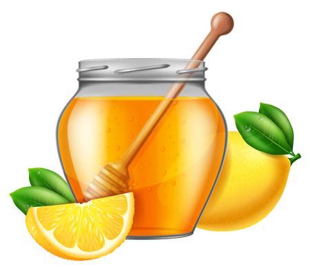 Jar of honey with wooden drizzler and lemon. Vector illustration. Illustration