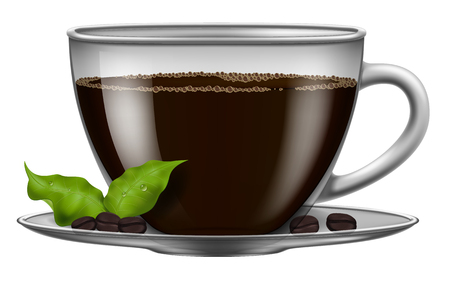 Coffee cup with roasted beans and green coffee leaves. Vector illustration.