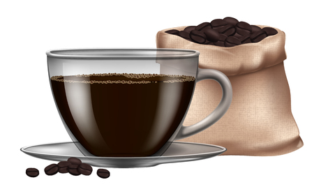 Coffee cup with roasted beans.Vector illustration. Illustration