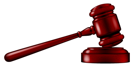 courtroom: Wooden Judges gavel with a stand, vector illustration.