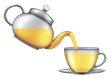 紅茶は、ティーポットからカップに注ぐ。ベクトルの図。