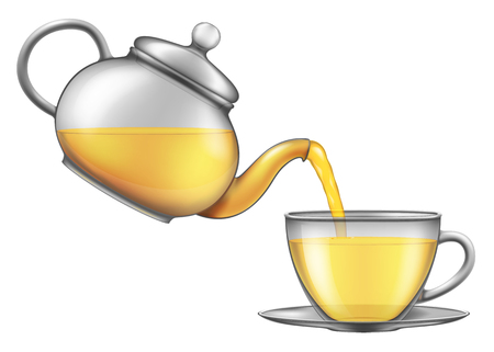 Tea pouring from teapot into a cup. Vector illustration. Çizim