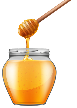 Jar of honey with wooden drizzler. Vector illustration.