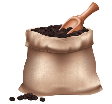 Sack of roasted coffee beans and a wooden spoon. Vector illustration.