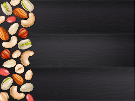 Black wooden table background with assorted nuts. Vectores