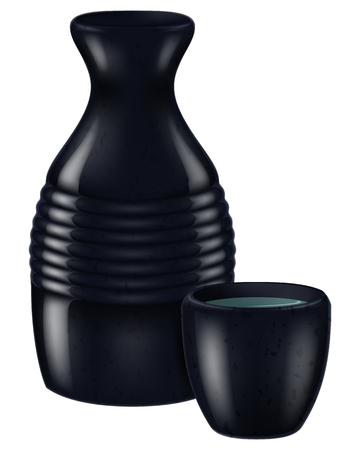 Japanese sake. Vector illustration.