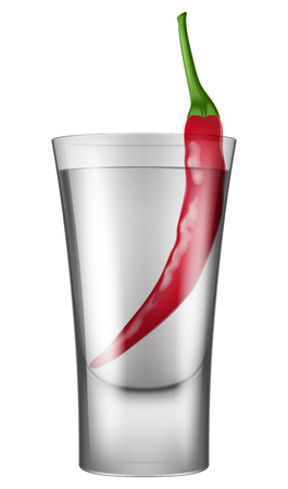 Shot of vodka with red pepper on white background vector illustration.