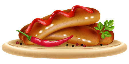Grilled sausages with chili pepper and ketchup on a wooden plate vector illustration.