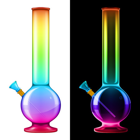 Glass bong in magical rainbow colors. Vector illustration with smart transparencies.