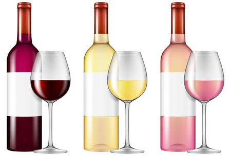 Wine bottles and glasses - red, white and rose wine. Vector illustration with smart transparencies.
