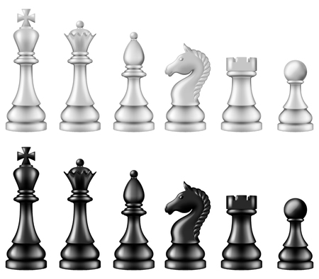 Chess pieces set, two versions - white and black. Vector illustration.