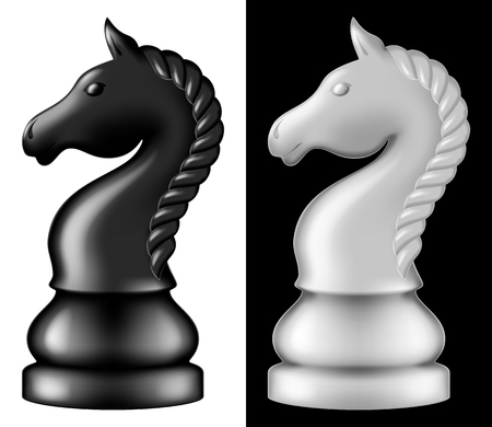 Chess piece Knight, two versions - white and black. Vector illustration.