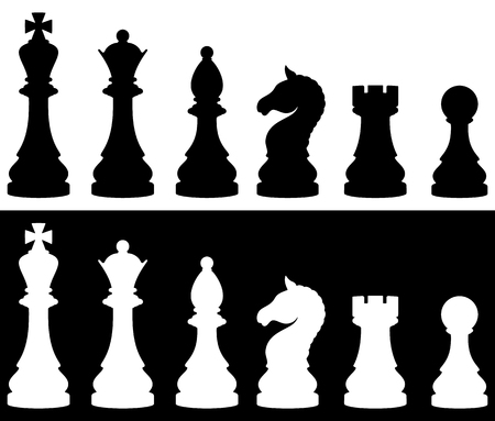 Chess pieces icon set, two versions - white and black. Vector illustration.
