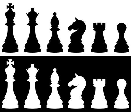 Zestaw ikon szachy, dwie wersje - biały i czarny. Ilustracji wektorowych.